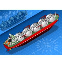 Isometric gas tanker ship in rear view vector
