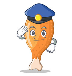 Police fried chicken character cartoon vector