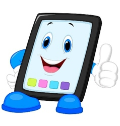 Computer tablet cartoon giving thumb up vector