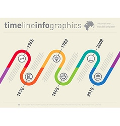 World business infographic timeline from past to vector