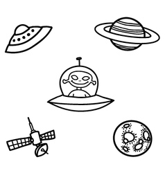 Outer space doodles two vector