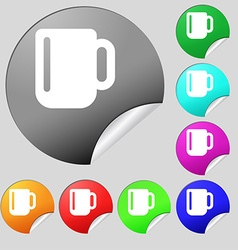Cup coffee or tea icon sign set of eight vector