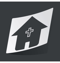 Monochrome christian house sticker vector