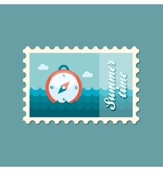 Compass flat stamp summertime vector