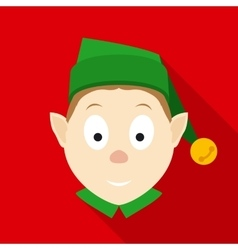 Christmas elf face in flat style with long shadows vector