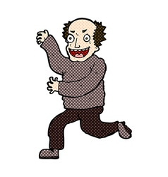 Comic cartoon evil old man vector