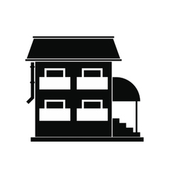 Two-storey house with porch icon vector