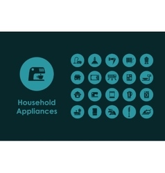 Set of household appliances simple icons vector