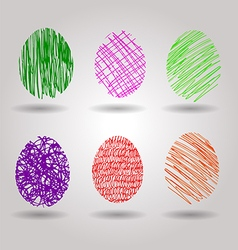 Color sketch of easter eggs vector