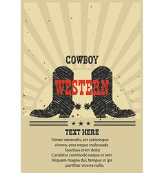 Western poster for text Cowboy boots background vector image