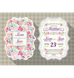 Vintage flower wedding invitation card vector