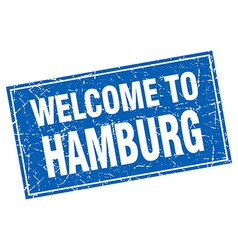 Hamburg blue square grunge welcome to stamp vector