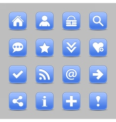 Blue satin icon web button with white basic sign vector