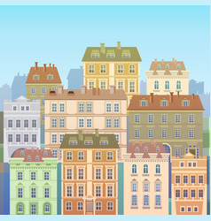 Cartoon houses buildings old town view banner vector