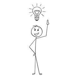 Cartoon of businessman with light bulb above head vector