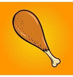 Chicken leg food comic book style pop art vector