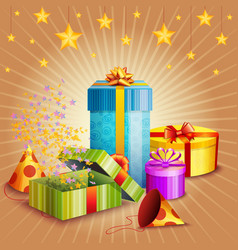 composition of gift box and different elements vector image vector image