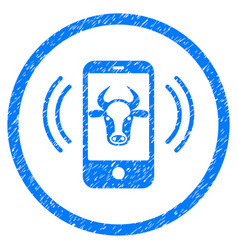 Cow mobile control rounded grainy icon vector