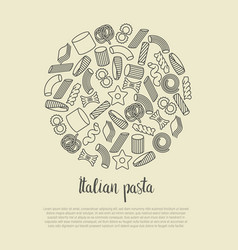 different types of italian pasta concept vector image vector image