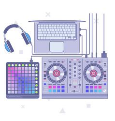 dj set flat line art vector image