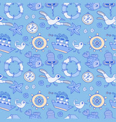 Doodle kids seagull and ship seamless pattern vector