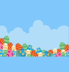 Easter egg and cloud backgrounds vector