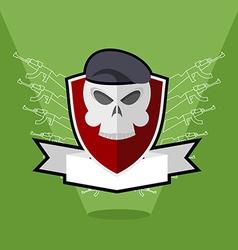 Emblem army skull on shield vector