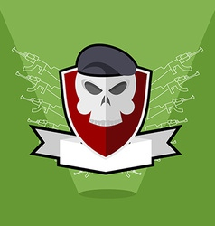 Emblem Army Skull on shield vector image