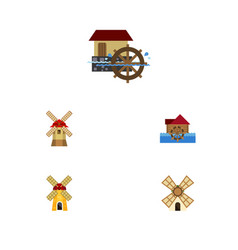 Flat icon mill set of ecology watermill wheel vector