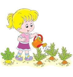 Girl watering carrots vector