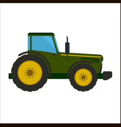 green tractor flat vector image vector image