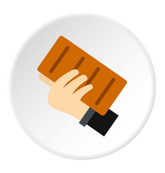 Hand holding a brick icon circle vector