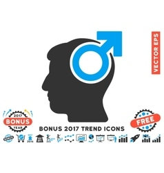 Intellect Potency Flat Icon With 2017 Bonus Trend vector image vector image