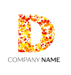 Letter d logo with orange yellow red particles vector