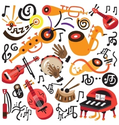 musical instruments - doodles set vector image