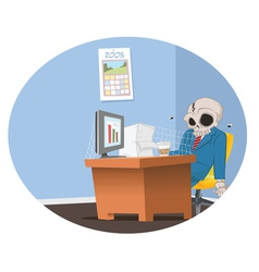 Office employee skeleton vector