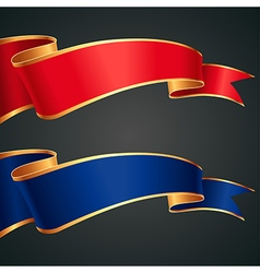 ribbon redblue gold vector image