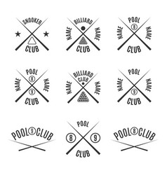 Set emblems billiard club vector