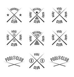 set emblems billiard club vector image