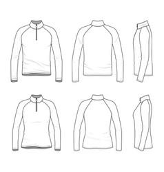 Set of raglan sleeved t-shirt with zipper vector