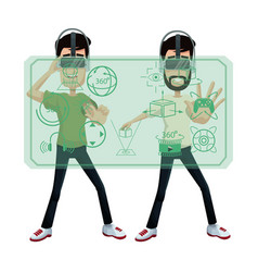 Two guy using virtual reality headset 3d world vector