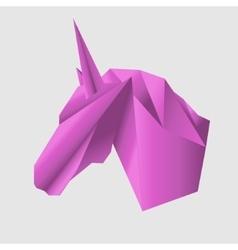 Unicorn head in origami style icon vector