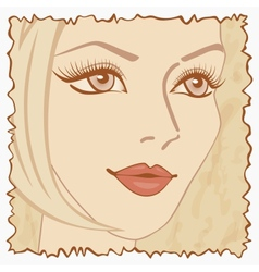 Vintage beautiful sweet girl vector