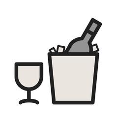 wine bottle in ice vector image vector image