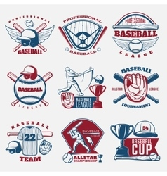 Baseball colored emblems vector