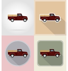 Old retro transport flat icons 09 vector