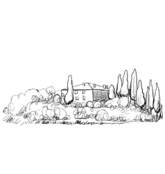 Hand drawn of house on hill vector image