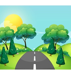 Scene with road and hills vector