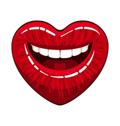 Heart shape lips vector image