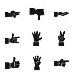 Gesture icons set simple style vector